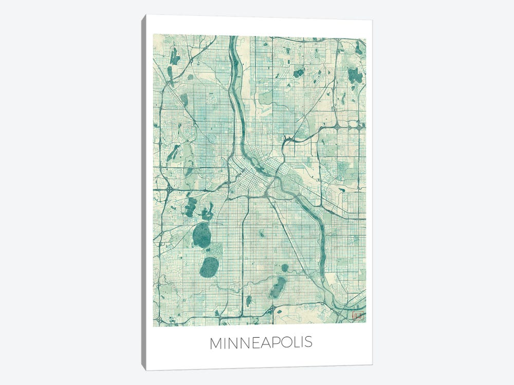 Minneapolis Vintage Blue Watercolor Urban Blueprint Map by Hubert Roguski 1-piece Art Print