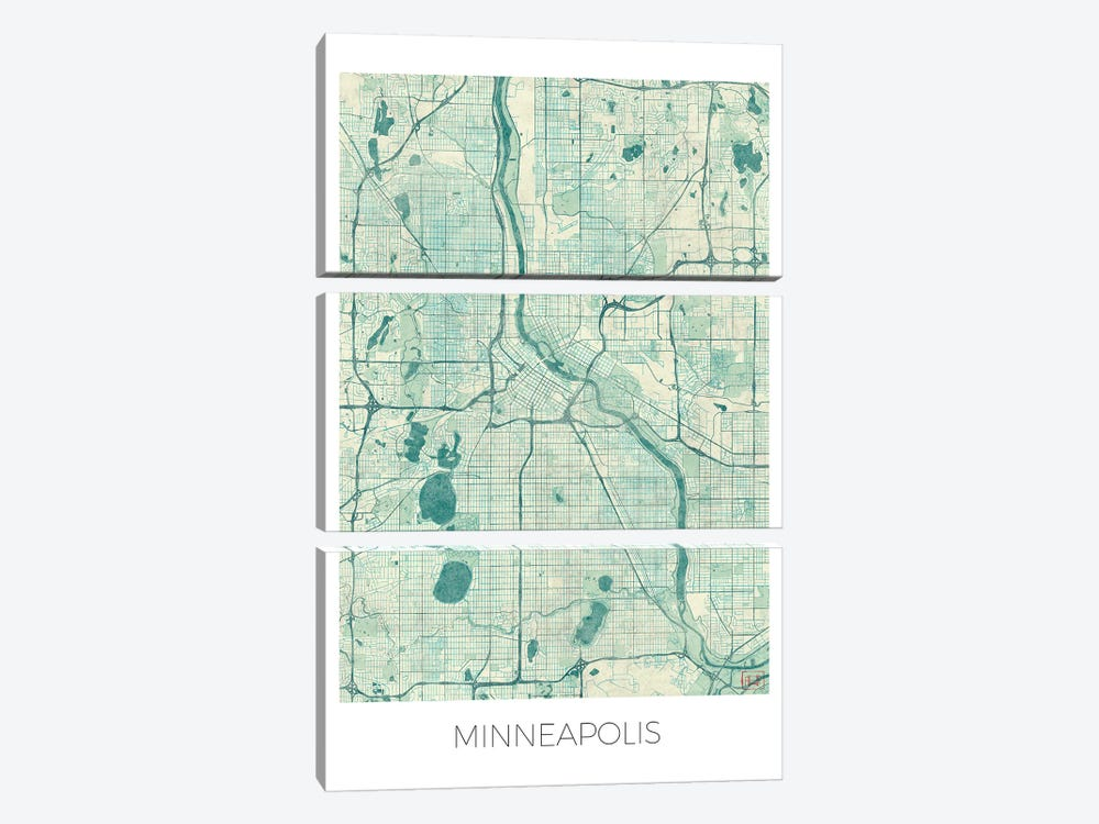 Minneapolis Vintage Blue Watercolor Urban Blueprint Map by Hubert Roguski 3-piece Art Print