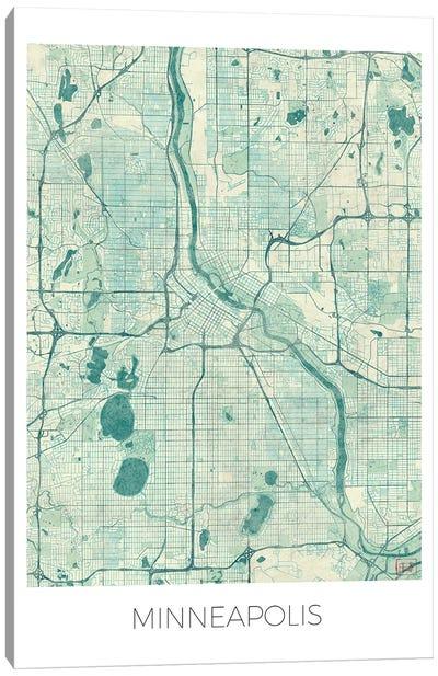 Minneapolis Vintage Blue Watercolor Urban Blueprint Map Canvas Art Print