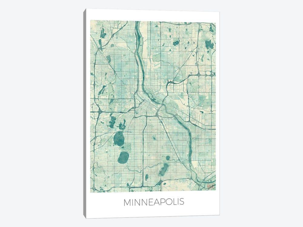 Minneapolis Vintage Blue Watercolor Urban Blueprint Map by Hubert Roguski 1-piece Art Print