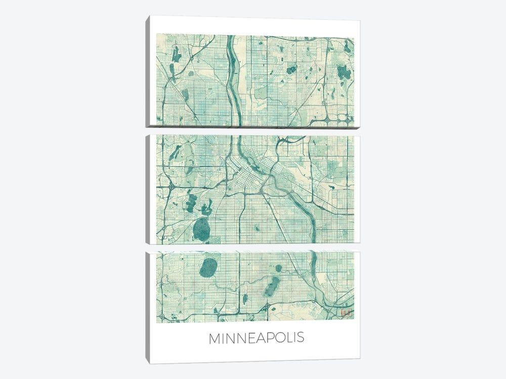 Minneapolis Vintage Blue Watercolor Urban Blueprint Map by Hubert Roguski 3-piece Art Print