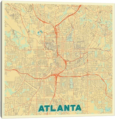 Atlanta Retro Urban Blueprint Map Canvas Art Print