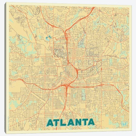 Atlanta Retro Urban Blueprint Map 3-Piece Canvas #HUR23} by Hubert Roguski Art Print