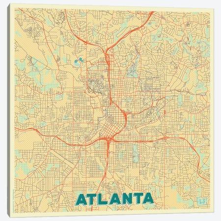 Atlanta Retro Urban Blueprint Map Canvas Print #HUR23} by Hubert Roguski Art Print