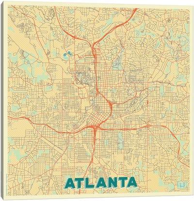 Atlanta Retro Urban Blueprint Map Canvas Art Print