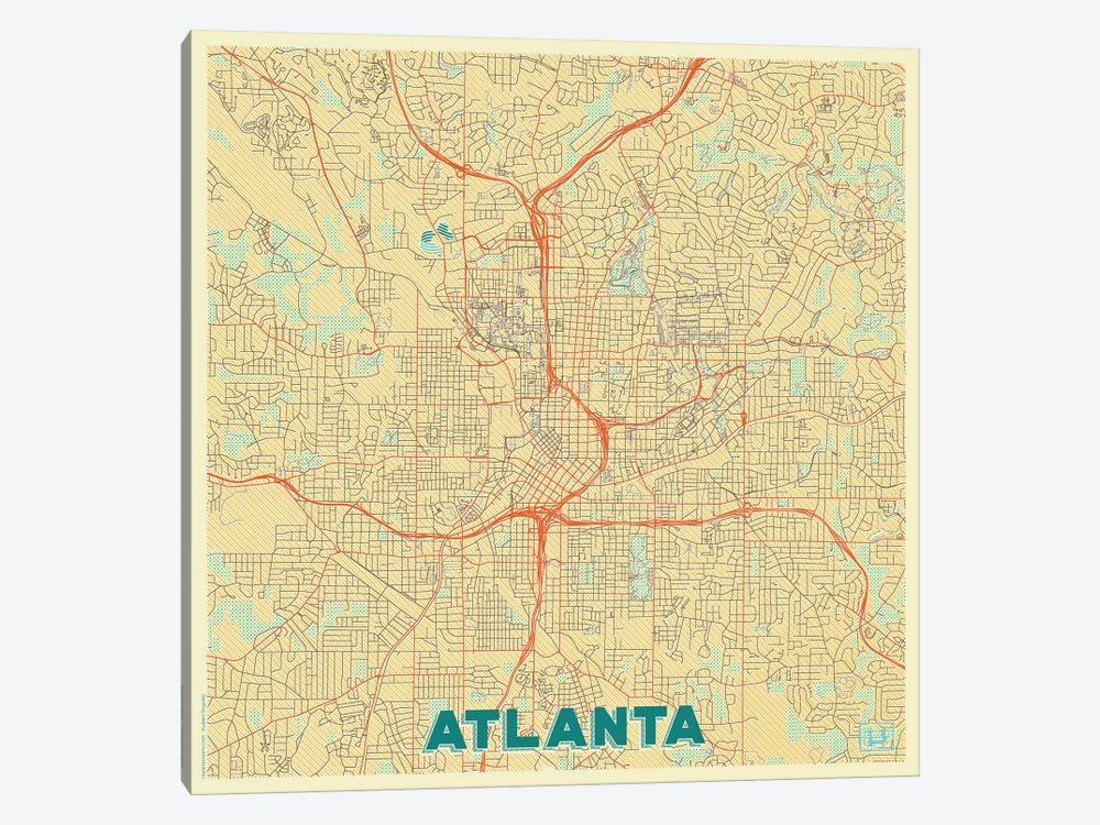 Atlanta Retro Urban Blueprint Map by Hubert Roguski 1-piece Canvas Art Print