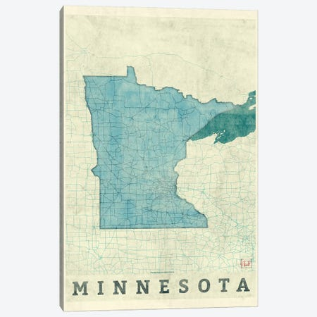 Minnesota Map 3-Piece Canvas #HUR240} by Hubert Roguski Canvas Wall Art