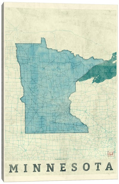 Minnesota Map Canvas Art Print