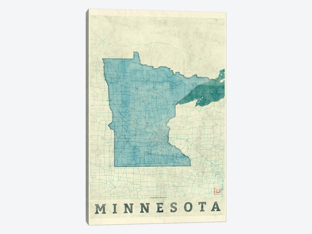 Minnesota Map by Hubert Roguski 1-piece Art Print