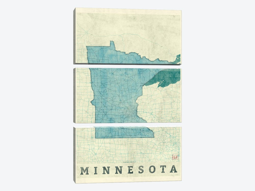 Minnesota Map 3-piece Art Print