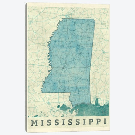 Mississippi Map Canvas Print #HUR241} by Hubert Roguski Canvas Wall Art