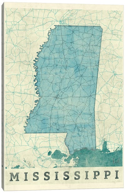 Mississippi Map Canvas Art Print
