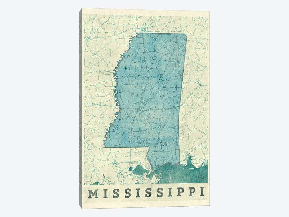Mississippi Map by Hubert Roguski 1-piece Canvas Art