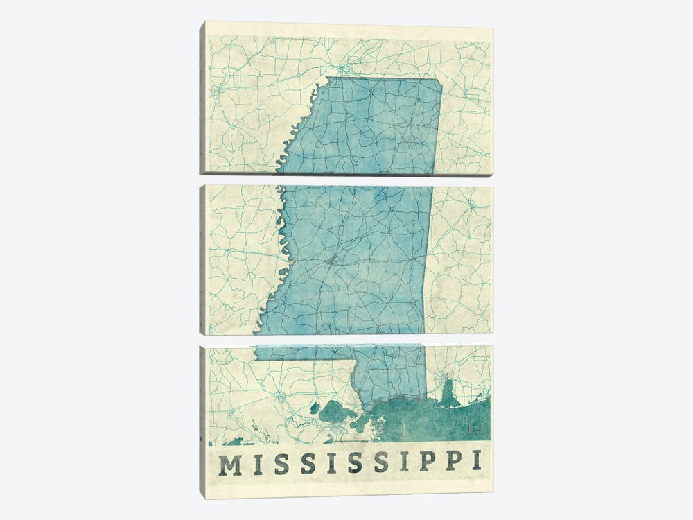 Mississippi Map by Hubert Roguski 3-piece Canvas Artwork
