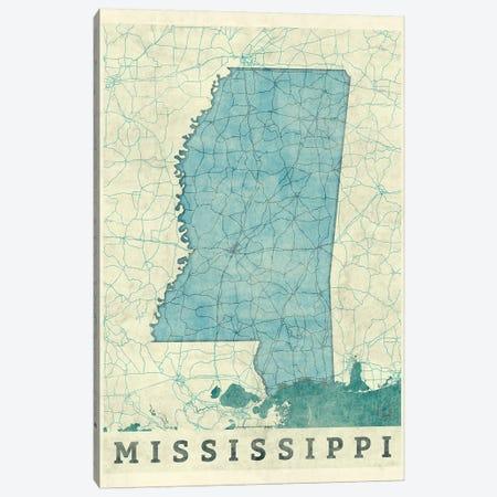 Mississippi Map Canvas Print #HUR241} by Hubert Roguski Canvas Wall Art