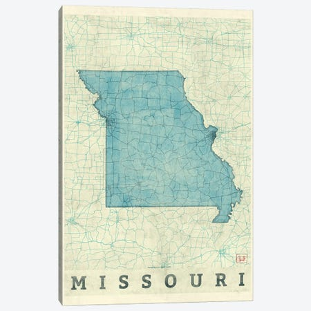 Missouri Map 3-Piece Canvas #HUR242} by Hubert Roguski Canvas Wall Art