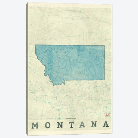 Montana Map Canvas Print #HUR243} by Hubert Roguski Canvas Wall Art