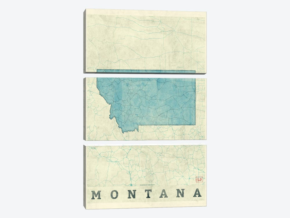 Montana Map by Hubert Roguski 3-piece Canvas Artwork