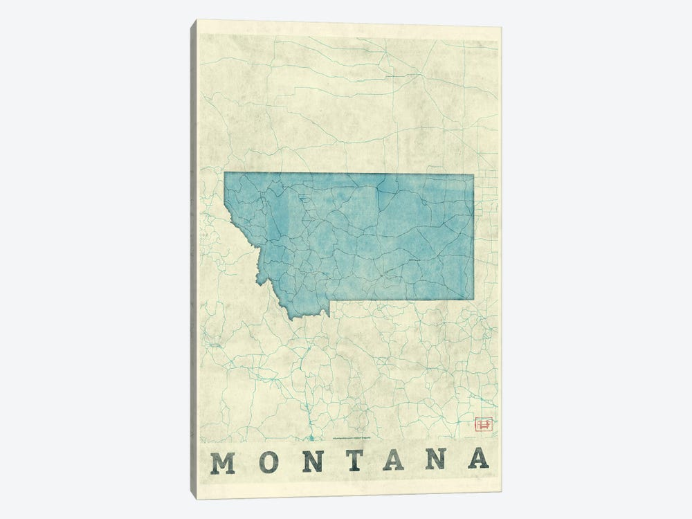 Montana Map by Hubert Roguski 1-piece Canvas Wall Art
