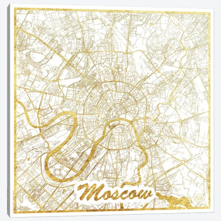 Moscow Gold Leaf Urban Blueprint Map Canvas Print #HUR244} by Hubert Roguski Canvas Art Print