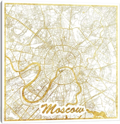 Moscow Gold Leaf Urban Blueprint Map Canvas Art Print