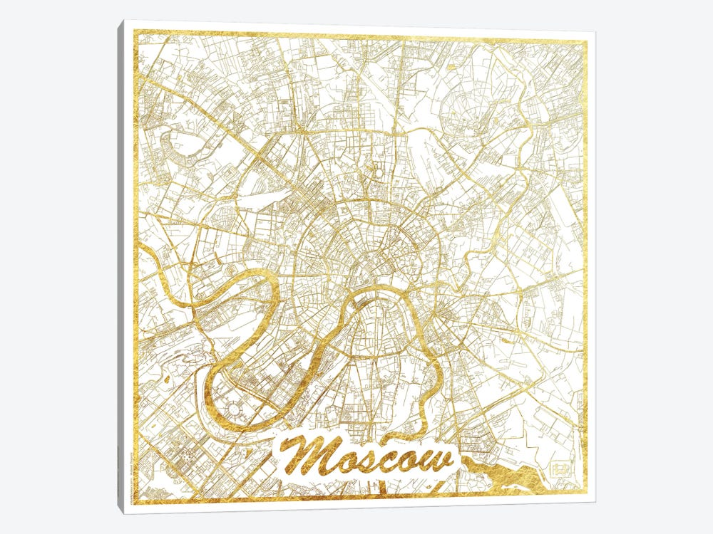 Moscow Gold Leaf Urban Blueprint Map by Hubert Roguski 1-piece Canvas Art Print