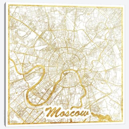Moscow Gold Leaf Urban Blueprint Map Canvas Print #HUR244} by Hubert Roguski Canvas Art Print