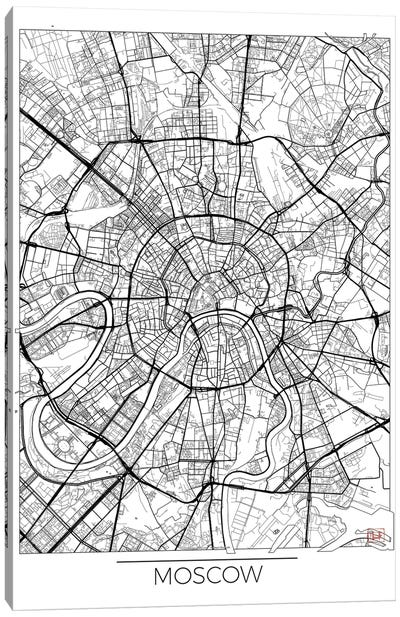 Moscow Minimal Urban Blueprint Map Canvas Art Print