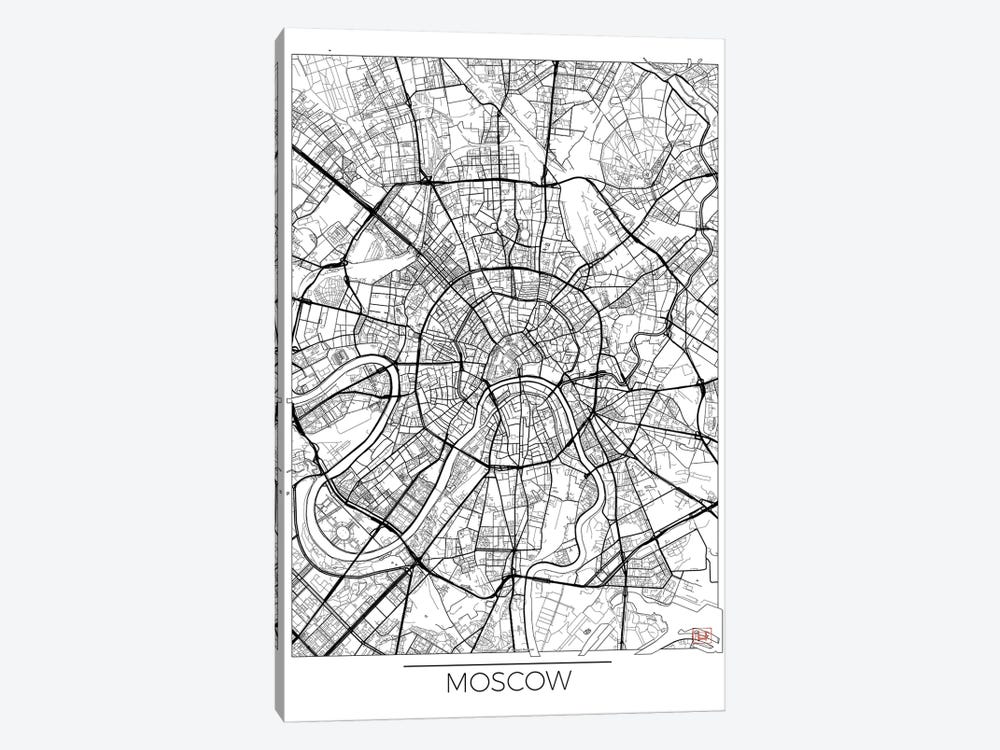 Moscow Minimal Urban Blueprint Map by Hubert Roguski 1-piece Canvas Wall Art