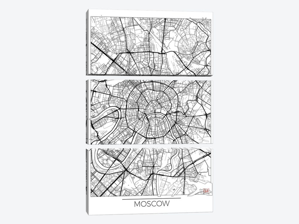 Moscow Minimal Urban Blueprint Map by Hubert Roguski 3-piece Canvas Wall Art