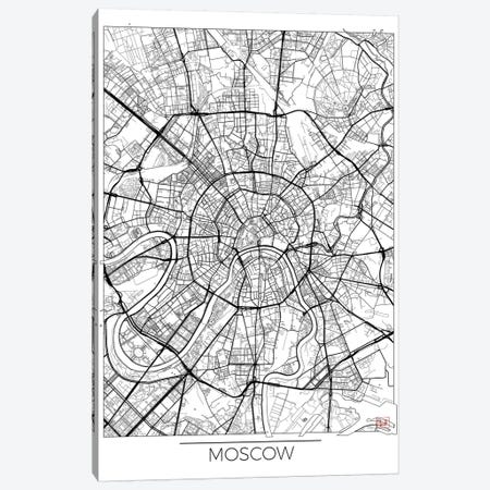Moscow Minimal Urban Blueprint Map 3-Piece Canvas #HUR245} by Hubert Roguski Canvas Art Print