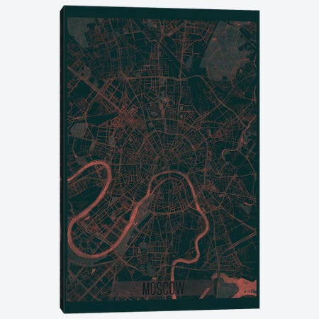 Moscow Infrared Urban Blueprint Map Canvas Print #HUR246} by Hubert Roguski Canvas Print