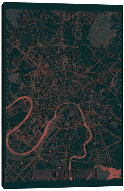 Moscow Infrared Urban Blueprint Map Canvas Art Print