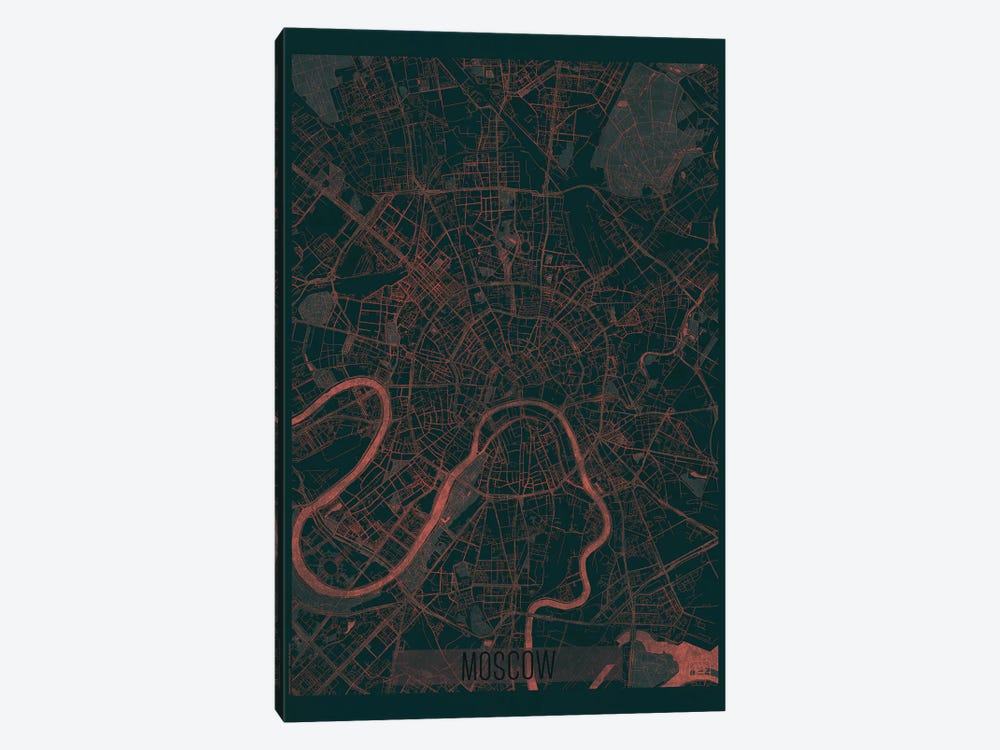 Moscow Infrared Urban Blueprint Map by Hubert Roguski 1-piece Art Print