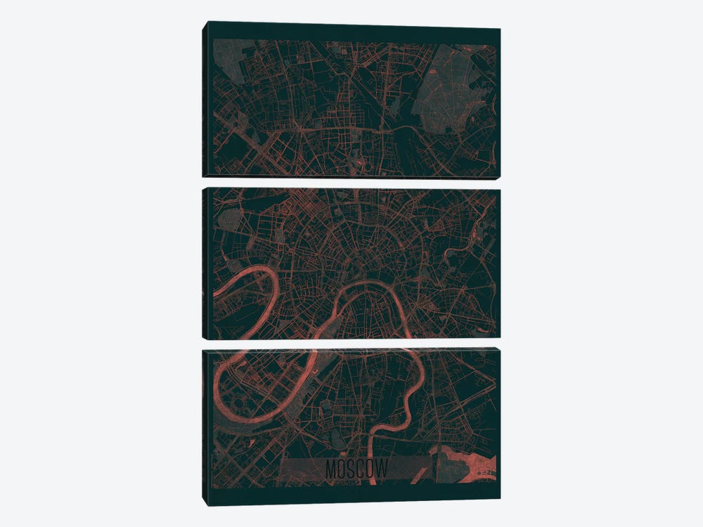 Moscow Infrared Urban Blueprint Map by Hubert Roguski 3-piece Canvas Art Print