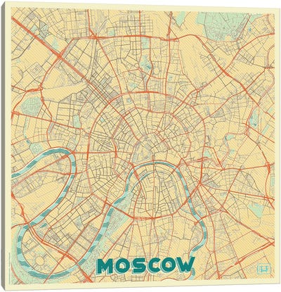 Moscow Retro Urban Blueprint Map Canvas Art Print