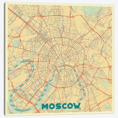 Moscow Retro Urban Blueprint Map Canvas Print #HUR247} by Hubert Roguski Art Print