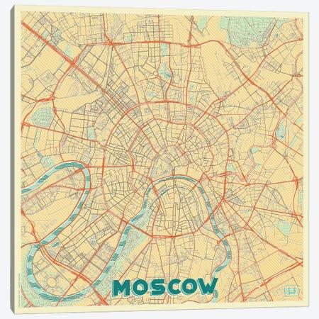 Moscow Retro Urban Blueprint Map Canvas Print #HUR247} by Hubert Roguski Art Print