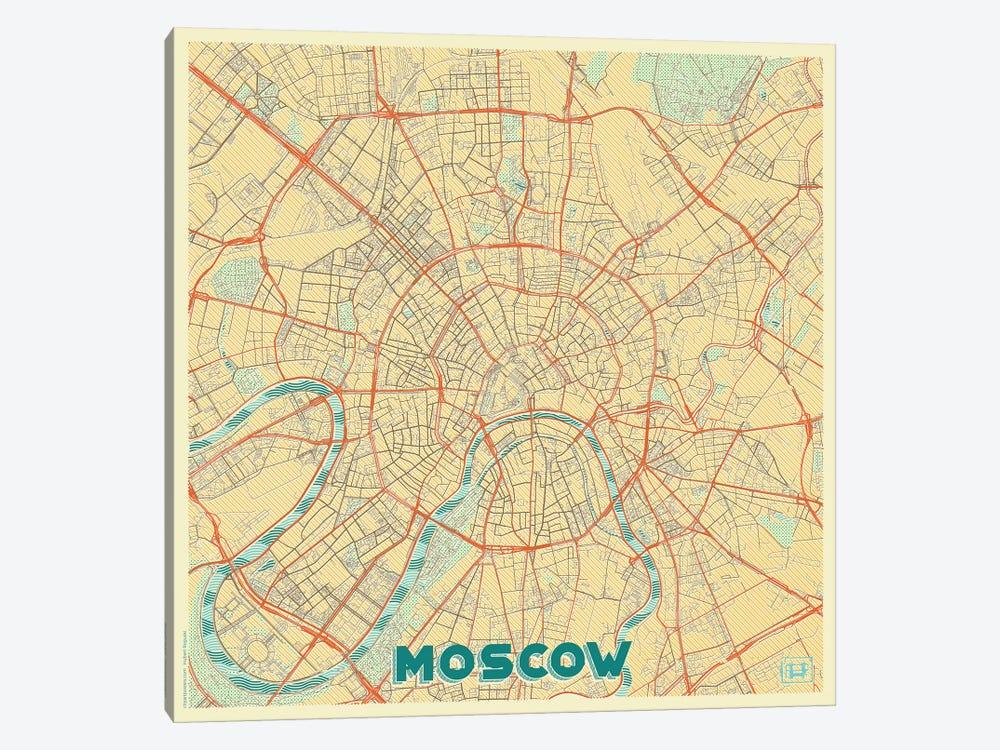 Moscow Retro Urban Blueprint Map by Hubert Roguski 1-piece Canvas Artwork