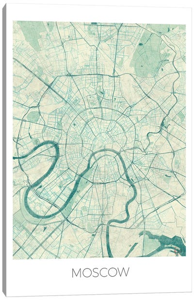 Moscow Vintage Blue Watercolor Urban Blueprint Map Canvas Art Print
