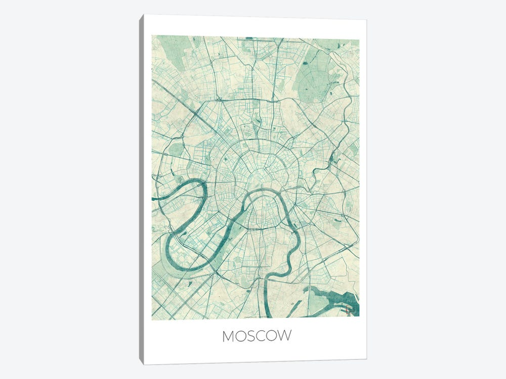Moscow Vintage Blue Watercolor Urban Blueprint Map by Hubert Roguski 1-piece Canvas Print