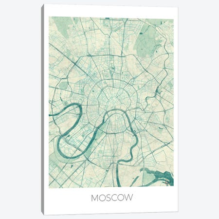 Moscow Vintage Blue Watercolor Urban Blueprint Map Canvas Print #HUR248} by Hubert Roguski Canvas Wall Art