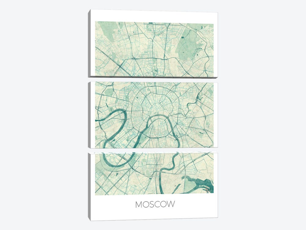 Moscow Vintage Blue Watercolor Urban Blueprint Map by Hubert Roguski 3-piece Canvas Print