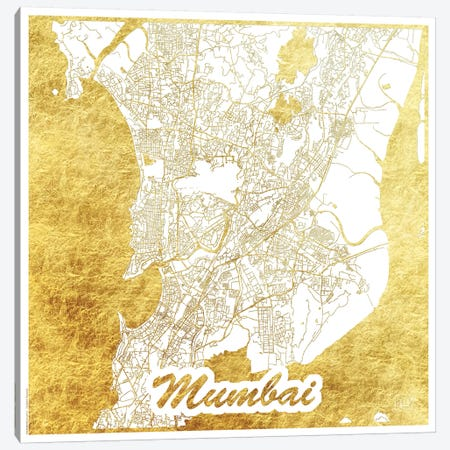 Mumbai Gold Leaf Urban Blueprint Map 3-Piece Canvas #HUR249} by Hubert Roguski Canvas Wall Art