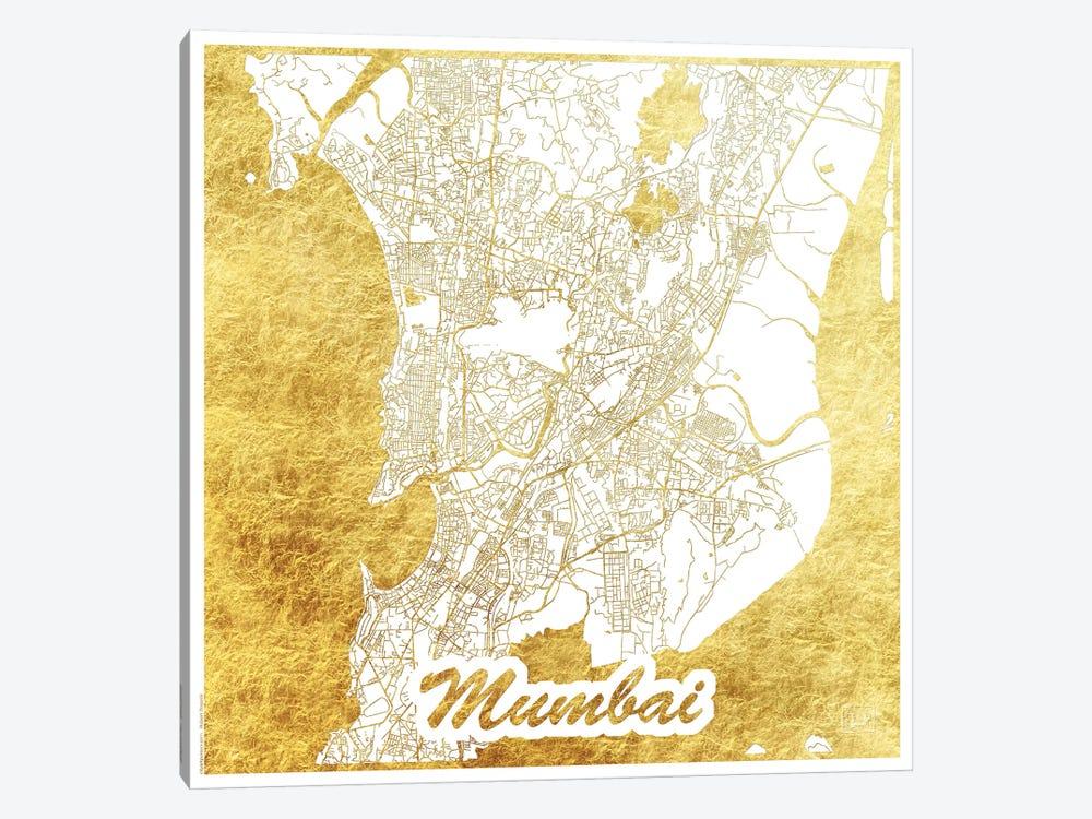 Mumbai Gold Leaf Urban Blueprint Map by Hubert Roguski 1-piece Canvas Artwork