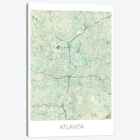 Atlanta Vintage Blue Watercolor Urban Blueprint Map 3-Piece Canvas #HUR24} by Hubert Roguski Canvas Art