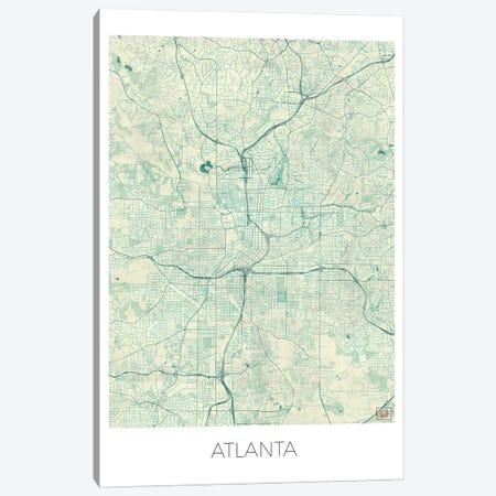 Atlanta Vintage Blue Watercolor Urban Blueprint Map Canvas Print #HUR24} by Hubert Roguski Canvas Art