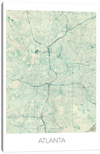 Atlanta Vintage Blue Watercolor Urban Blueprint Map Canvas Art Print