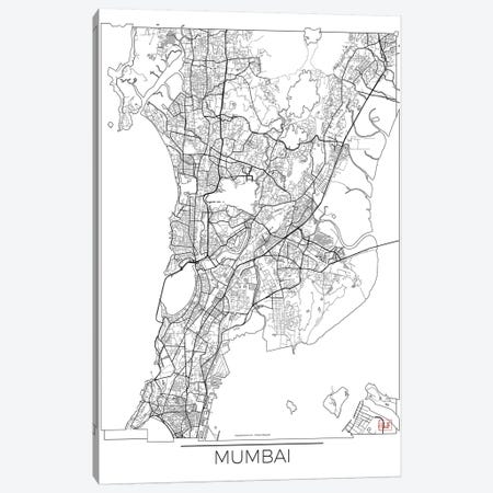 Mumbai Minimal Urban Blueprint Map 3-Piece Canvas #HUR250} by Hubert Roguski Canvas Print