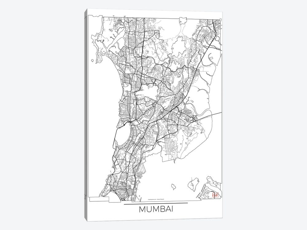 Mumbai Minimal Urban Blueprint Map by Hubert Roguski 1-piece Canvas Wall Art